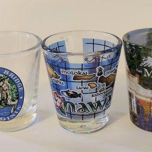 Set of 3 Colorful Shot Glasses Virginia Hawaii Mon